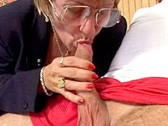 Granny chick in glasses sucks young penis and fucked in..