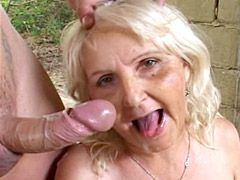 Drunk blonde granny in black stockings fucked in all holes..