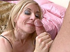 Busty blonde mature lady in black stockings gets hard dick..