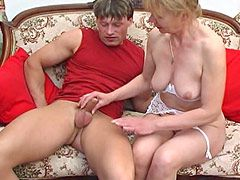 Blonde granny woman takes strong young cock by anal hole