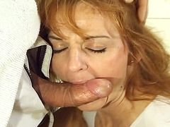 Redhead hairy housewife jerking cock and hardcore fucking..
