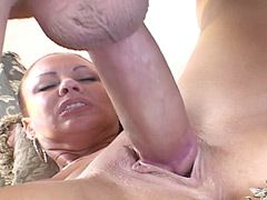 Sexy beauty housewife lady gets face fuck and hard bang in shaved pussy