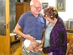Two granny girlfriends sucking cocks and fucked ffmm..
