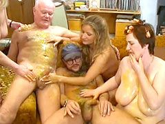 Tree mature babes fucking in wild hardcroe group sex
