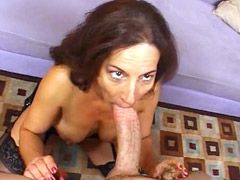 Granny babe in black stocking suck and gets big cock in..