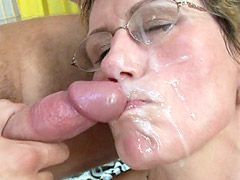 Horny granny in black stockings gets banged in hardcore gangbang