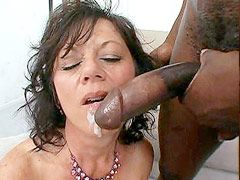 Sexy brunette granny bitch licked huge black dick and hard anal fucked