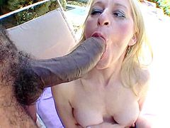 Sexy blonde granny sucking and jumping on gigantic black..