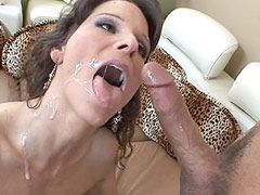 Hot brunette mom licking ball and cock and hard assfucked..