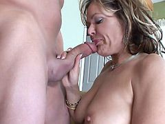 Hot housewife babe in black stockings gets hard dick for..