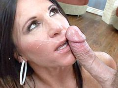 Busty brunette mom suck cock and gets dig dick in shaved..
