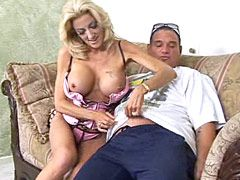 Blonde mature chick with huge boobs jumping on hard cock for cum