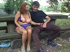 Redhead granny with natural big tits gets hard cock in hairy pussy