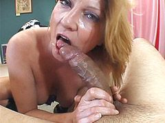 Busty housewife babe suck gets big black cock for squirts