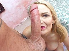 Huge boobs blonde mature with big wet cunt suck cock for cum
