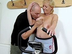 Blonde granny gets hard dick in shaved..