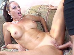 Beautiful busty hot wife gives blowjob and gets big cock..