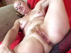Blonde mature wife gets hairy pussy licking and wild hardcore sex