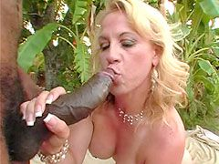 Black monster cock face fuck and hard anal bang blonde mature outdoor