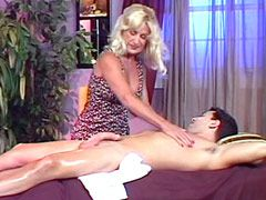 Big tits blonde granny gives suck big cock and hard doggy styke fucked
