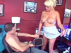 Mature blonde babe gets face fuck and..