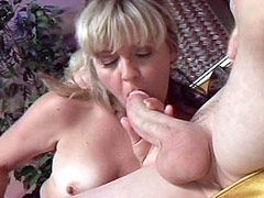 Blonde housewife babe suck cock and gets big dick in wet pussy for tity cum