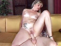 Blonde housewife babe suck cock and gets big dick in wet..