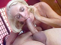 Beauty blonde mom with natural big boobs gets strong cock in shaved pussy