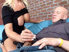Beauty blonde granny gets big cock in shaved pussy and hot cum on big boobs