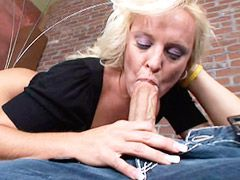 Beauty blonde granny gets big cock in shaved pussy and hot..