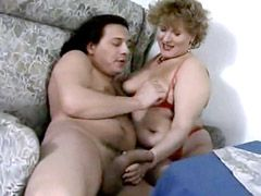 Horny mature babe suck big fat cock and gets facial cumshot