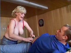 Chubby mature mom undressing for wild sex after blowjob