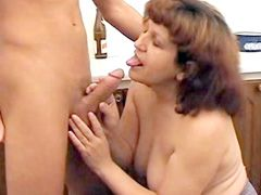 Granny bitch suck young cock and gets cum on hairy pussy