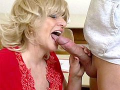 Blonde aged mom fucked by students in classroom