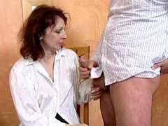Granny chik with hairy beaver doggy style fucked on table