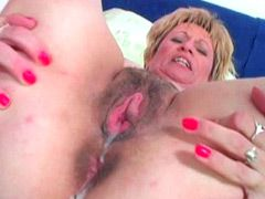 Naked mature jerking young dick and gets hairy pussy fucking