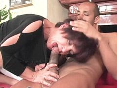 Old mature babe rides big ebony cock and gets creampie