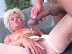 Blonde granny gets big black hose