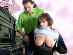Busty granny in black stockings having wild sex and creampied