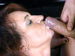 Busty granny in black stockings having wild sex and..