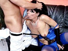 Brunette mom in sexy blue stockings gets face fuck and cumshot