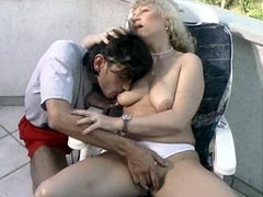 Blonde mature chick hardcore fucked and gets jizz