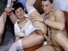 Two gays hardcore fucking all holes hairy aged lady and..