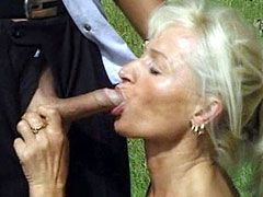 Blonde wife gets dick in pirsing pussy