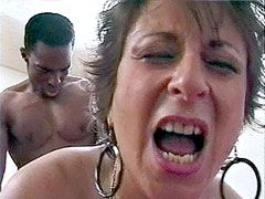 Busty mature sucks gigantic black cock and doggystyle fucks