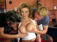 Sexy busty mature lady having wild group sex in bar