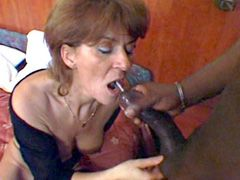 Gigantic African monster cock drilled mature babe on bed