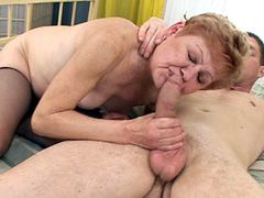 Granny babe jerking big cock and banged in hairy beaver