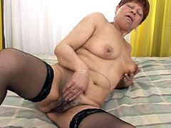 Aged mature sucking cock and hard banged on bed