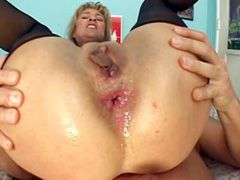 Hungry blonde mature bitch sucking cock and hard anal fucked